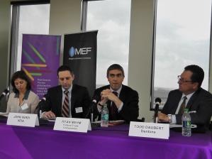 Left to right: Alejandra Lopez-Fernandini - FRB, John Verdi - NTIA, Ryan Mehm - FTC, Todd Duabert - Dentons