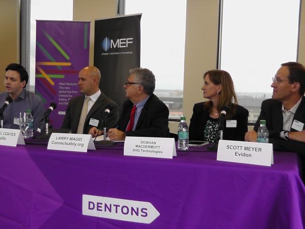 Left to right: Chris Davies - InMobi, Michael Coates - Mozilla, Larry Magid - Tech analyst, Siobhan MacDermott - AVG, Scott Meyer - Evidon