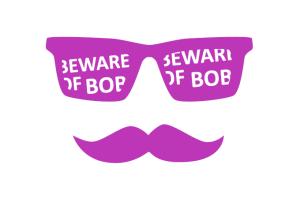 Beware of Bob full face purple on white